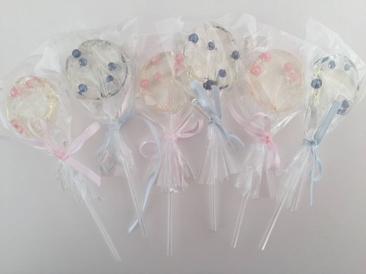 Pink and light blue pearls Lollipops , baby Shower Favor Lollipops , birthday party favor, sweet gift, handmade lollipops, party favors by SweetRainbowLollies on Etsy