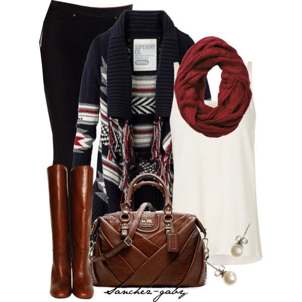Aztec sweater, black pants, riding boots, tank, scarf, studs, and leather bag