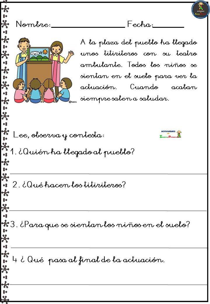 Colección de fichas comprensión lectora | Comprensión lectora, Lectura de  comprensión, Comprensión lectora primaria