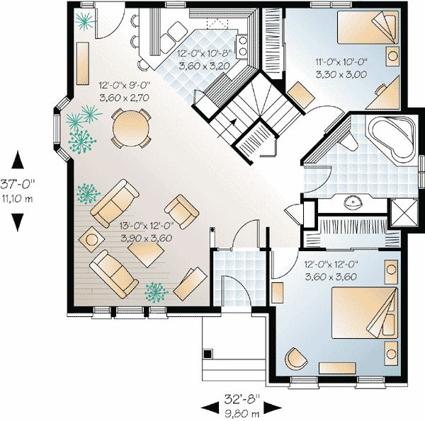 Plan 21210dr small house plan with open floor plan european house plans open floor and small Open plan house