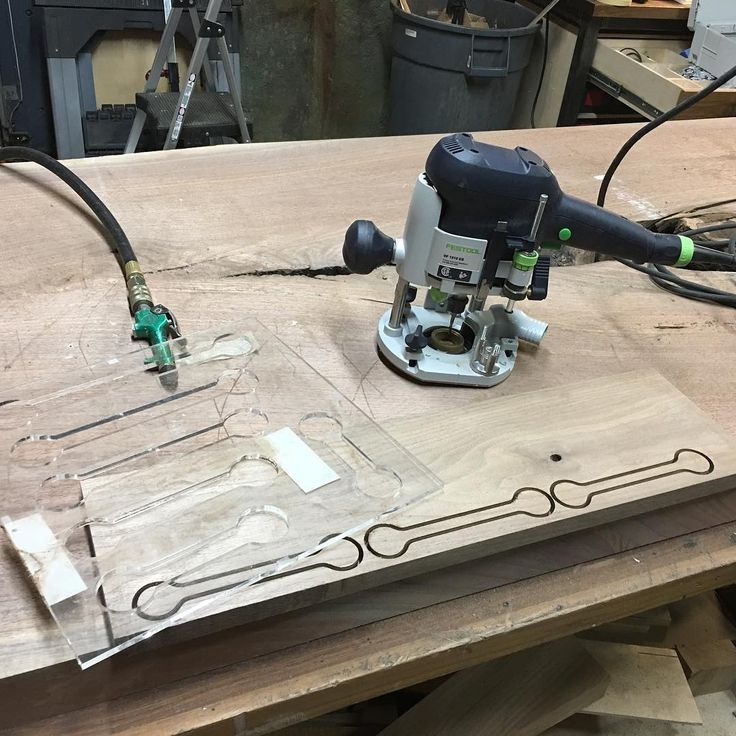 The secret is: Adobe illustrator, a Festool OF 1010 EQ and a friend with a laser cutter/engraver.  I had an idea, he cut it out of acrylic and the Festool router does the rest. Magic! #festool #festoolme #router #template #wood #woodworking #custom #adobeillustrator #walnut #mnmade #minnesota #minneapolis #wip #process #magic #work