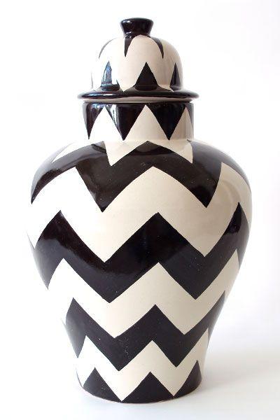Black and white chevron vase.