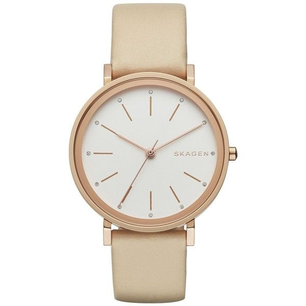 Skagen Women's Sandblast Dial Rose Goldtone Stainless Steel Leather... (200 BAM) ❤ liked on Polyvore featuring jewelry, watches, mauve, buckle watches, skagen jewelry, water resistant watches, skagen watches and stainless steel wrist watch