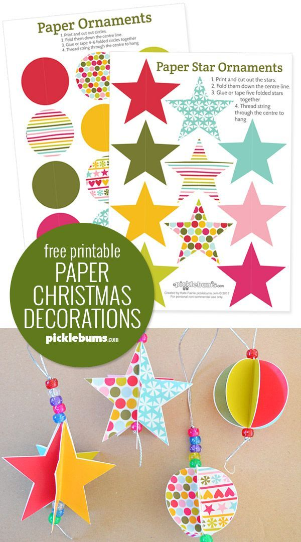 Star And Circle Paper Christmas Decorations Free Printable Paper Christmas Decorations Christmas Decorations Diy For Kids Easy Christmas Decorations