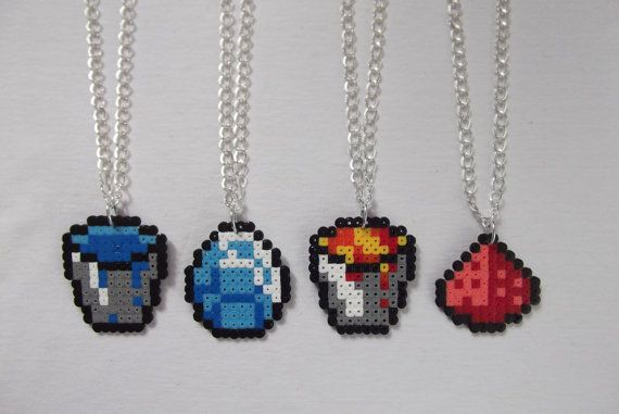 Minecraft items and tools necklaces hama perler beads by BIGBEADSUK on Etsy