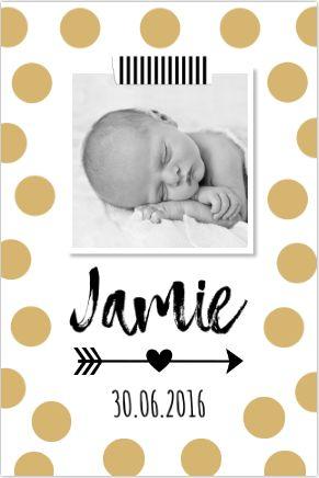 Stoer en hip kaartje voor geboorte van een jongen of meisje. #geboortekaartje #jongetje #meisje #stippen #goud #zwangerschap #foto