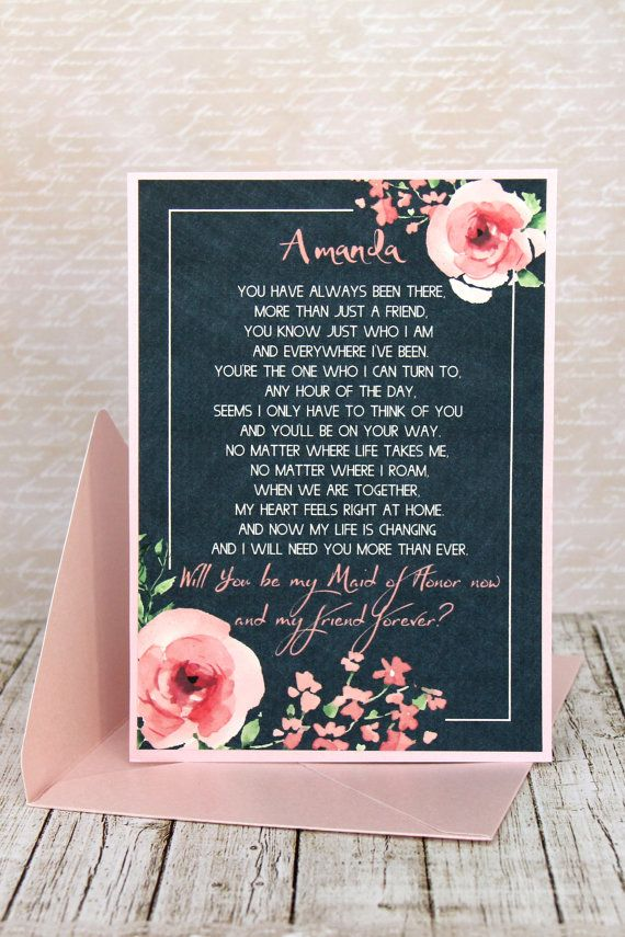 Congratulations!!! You found your man and now you need your girls to be part of your big day. This lovely watercolor invitation will be the perfect way to say your best friends that you will need them by your side. It comes with a metallic envelope in pink color. PERSONALIZATION: When you order please leave in Note from Byuer - Name and Role (Maid of Honor, Matron of Honor, Bridesmaid). - If you prefer another text, please write the full wordings. MEASUREMENTS: - size of the invitation is…