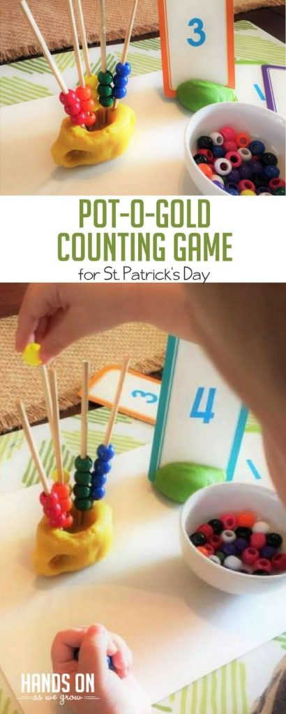 Rainbow Bead Counting Game for St. Patrick's Day