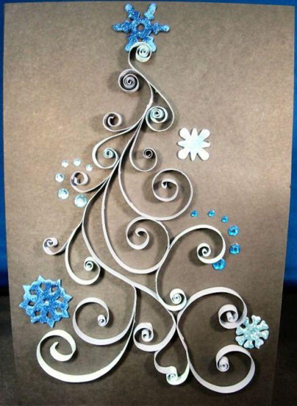 bastelideen weihnachten tannenbaum blau karten
