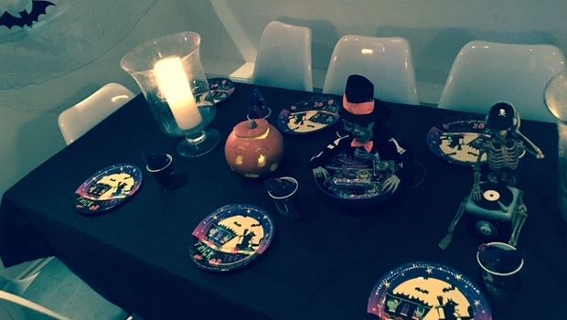 Finalising Halloween party decorations