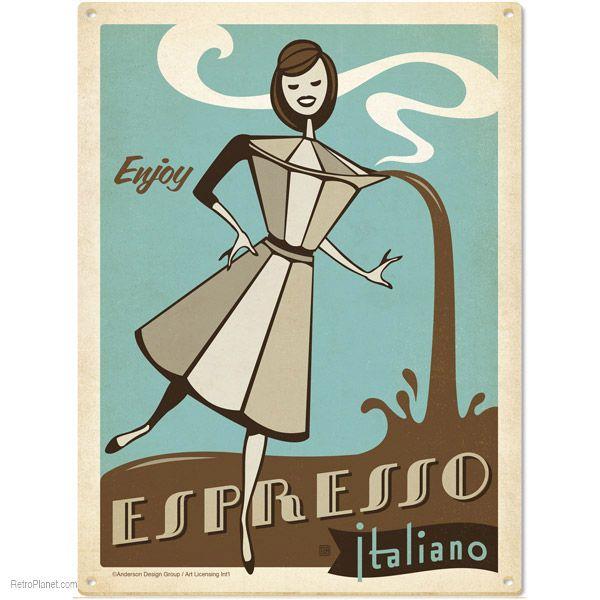 Espresso Italiano Metal Sign   Cafe Tin Signs   RetroPlanet.com