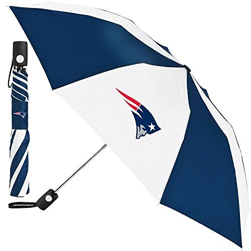 """Nfl Football Team Umbrella  Officially Licensed NFL Merchandise  2 Team Logos on Canopy  Push button for automatic open  Comfortable Rubber Grip  Size: 42"""""""