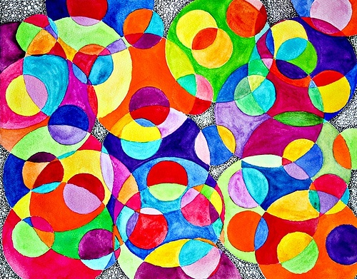 circles watercolor painting by Stephanie of Creating Flow #art