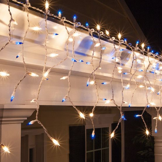 I love these lights! Bright blue and white icicle lights, gorgeous for Christmas or bedroom  lighting!
