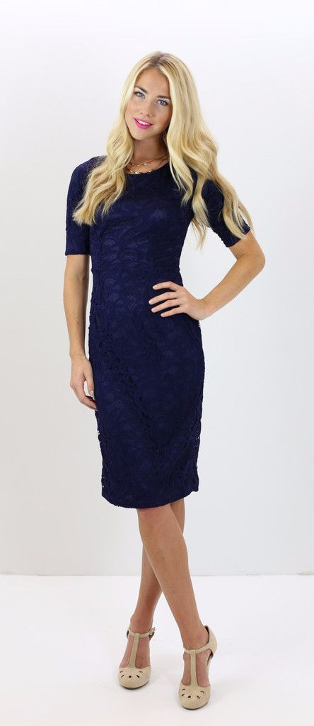 Modest, navy lace dress, can be accessorized with a belt or worn alone - cute and perfect for any season! Classy, conservative, trendy dress. Modest clothing.