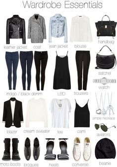 Wardrobe Essentials for Women- gives you ideas for what to pack when you travel - no skinny jeans for me. Different cuts on the pants http://fashioninfographics.com/post/71583049805/wardrobe-essentials-for-women?utm_content=bufferdc385&utm_medium=social&utm_source=pinterest.com&utm_campaign=buffer#notes