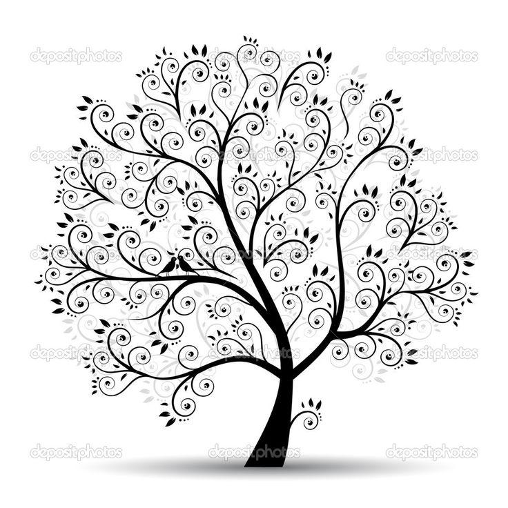 Arte árbol hermoso, silueta negra