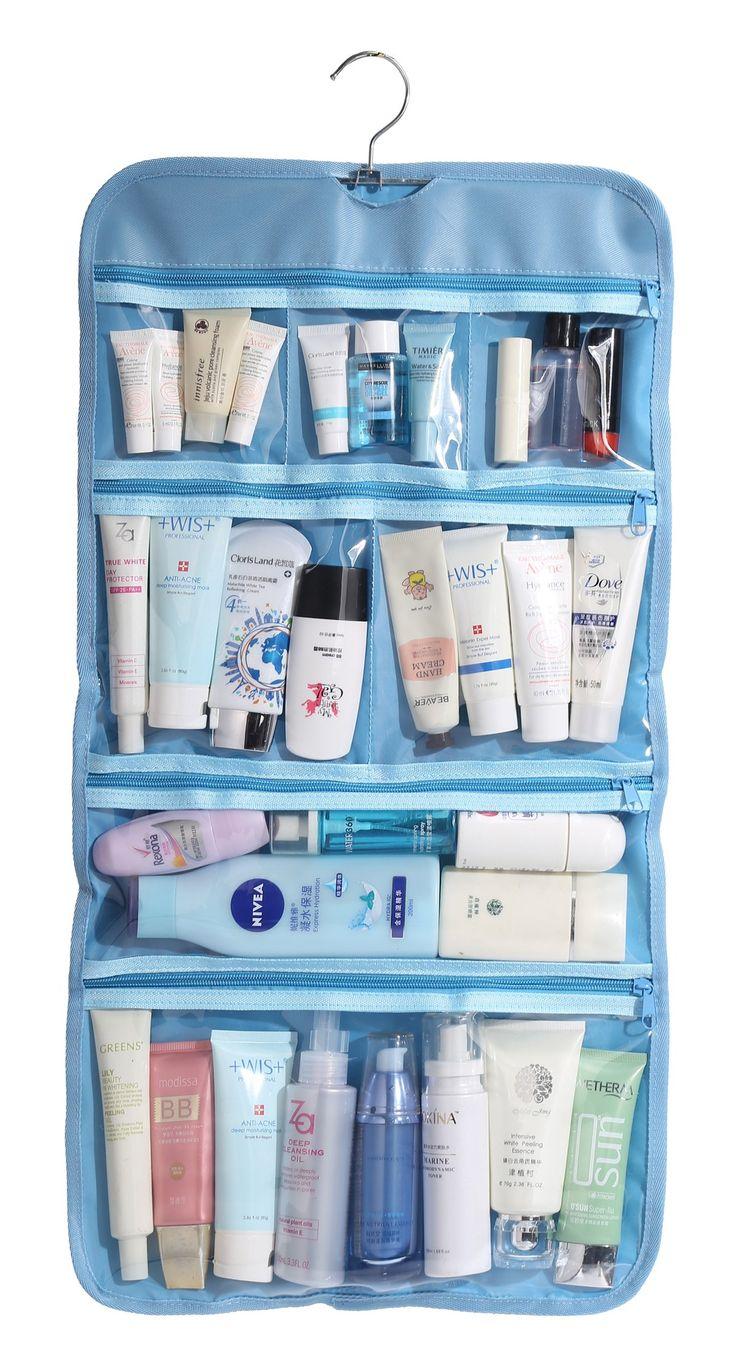 Amazon.com: WODISON Foldable Clear Hanging Travel Toiletry Bag Cosmetic Organizer Storage Purple: Clothing