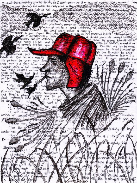 A4 Print Holden Caulfield Catcher In The Rye Wall Art by LouSimArt