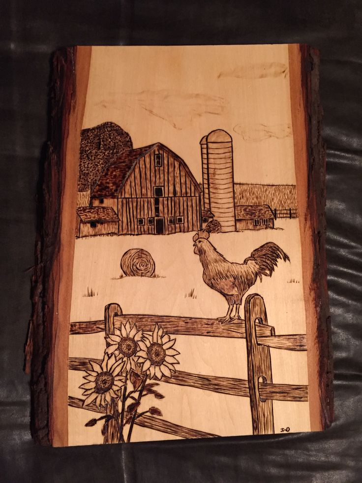 Barn Scene with Rooster wood burnt art