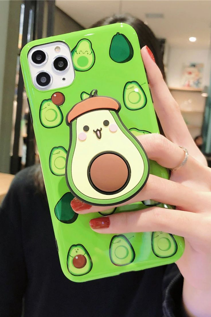 3d cute fruit avocado iphone case with finger grip