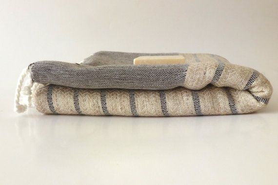 Organic Bamboo Turkish Towel, Peshtemal, beach, bath towel, yoga, spa, hammam, Natural Soft, Elegant Brown Striped, special  gift