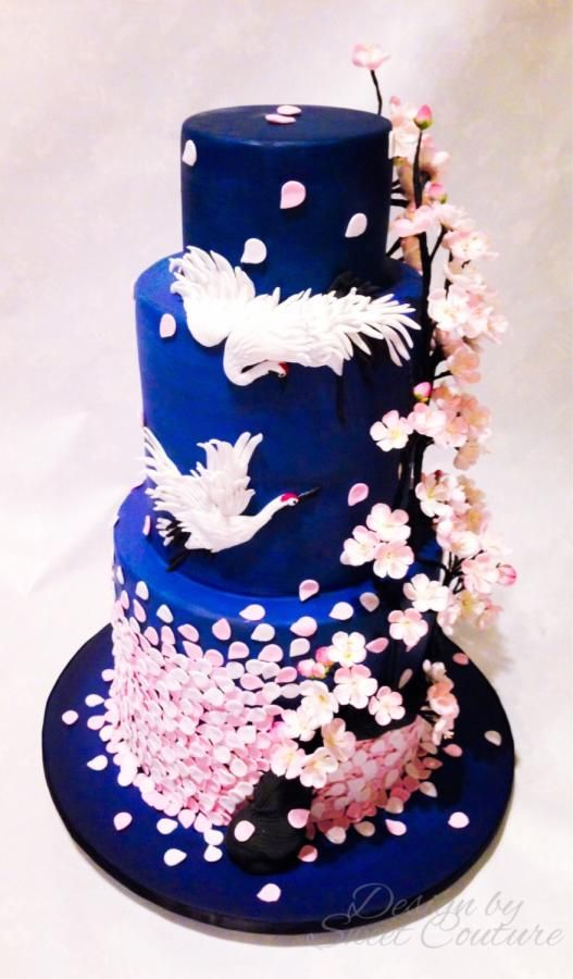 Oriental/cherry blossom themed wedding cake. - Cake by Sweet Couture