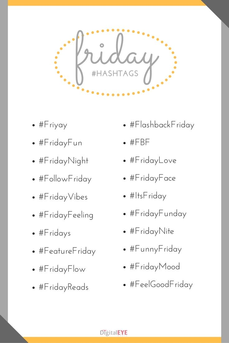 """It's #FriYay ! Time to check out what's trending today. Be sure to check in all weekend as we roll out the final days of our """"Day of the Week"""" Hashtags!  