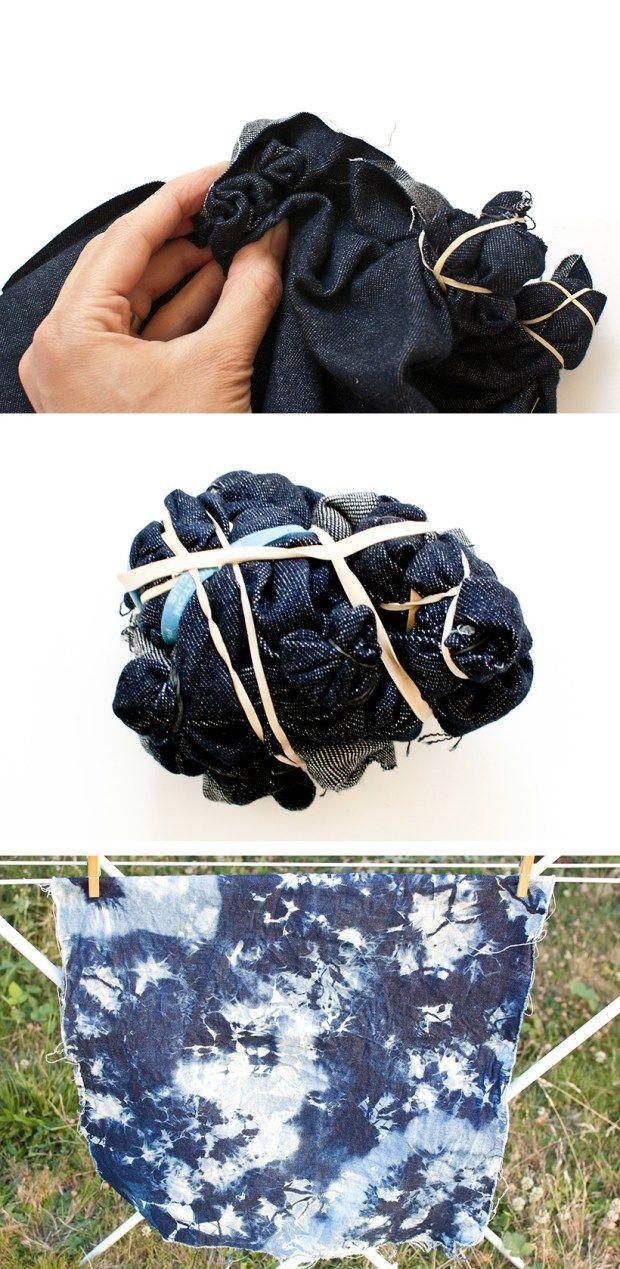 DIY faux shibori bleached denim