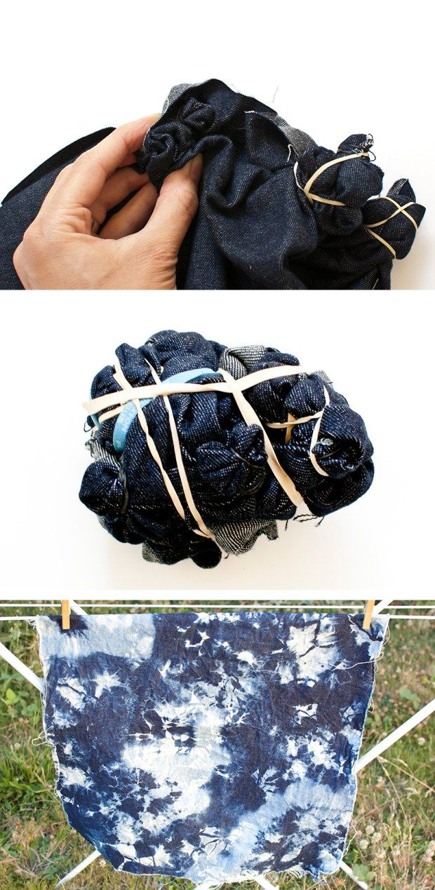 DIY faux shibori bleached denim                                                                                                                                                                                 More