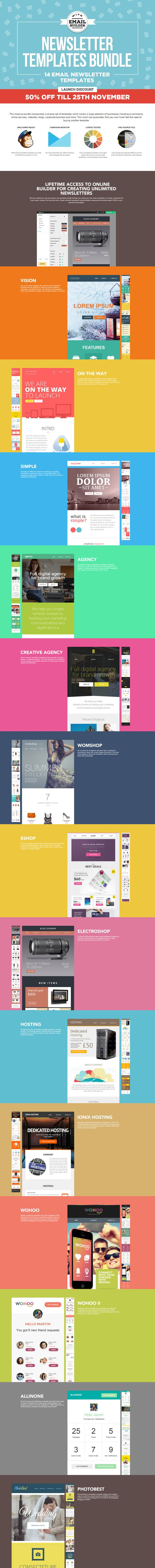 14 Email Newsletter Templates Bundle by ZippyPixels on Creative Market