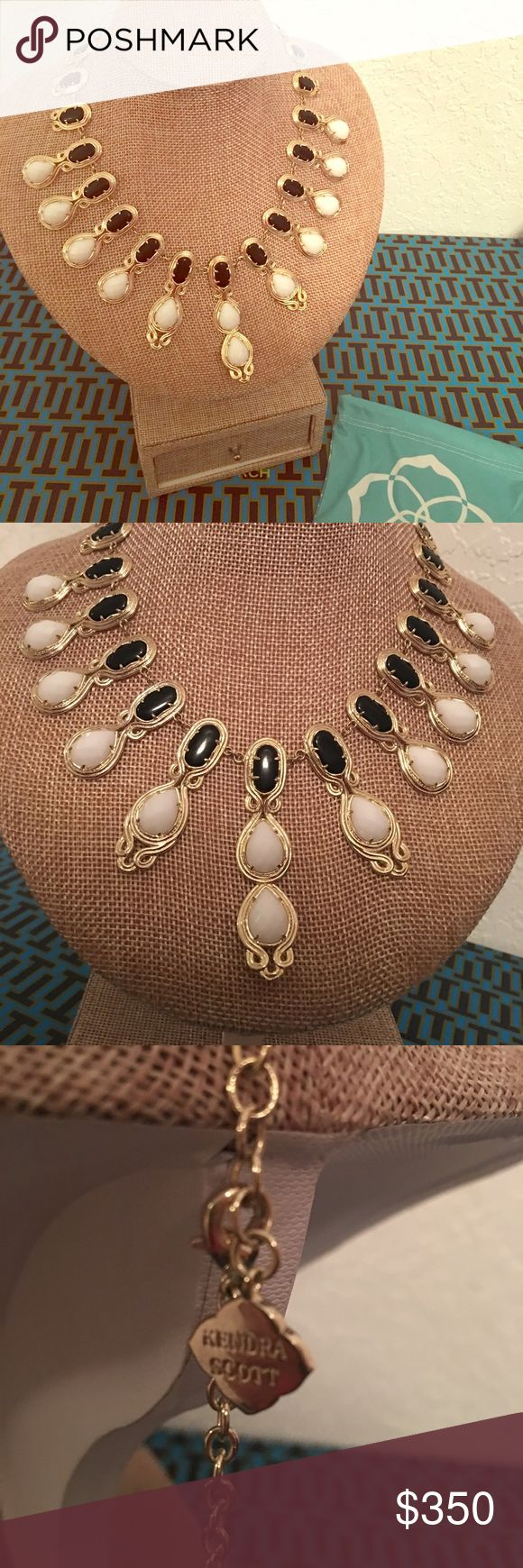 Kendra Scott Rare Whitney Tapered Station Necklace Kendra Scott Rare Whitney Tapered Station Necklace. 14-karat gold-plated brass. Stone colors: Black oval stations with scroll details. Tapered white enamel drops, Lobster clasp. Includes dust bag and necklace. Kendra Scott Jewelry Necklaces