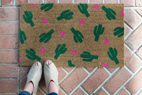 Cactus doormat. Hand painted, customizable welcome mat brightens your entryway!