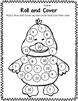 Bunny Roll : Spring Dice Math Activities {Freebie