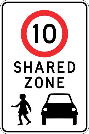 Shared Zone Sign 10 $53.90 (Inc GST)