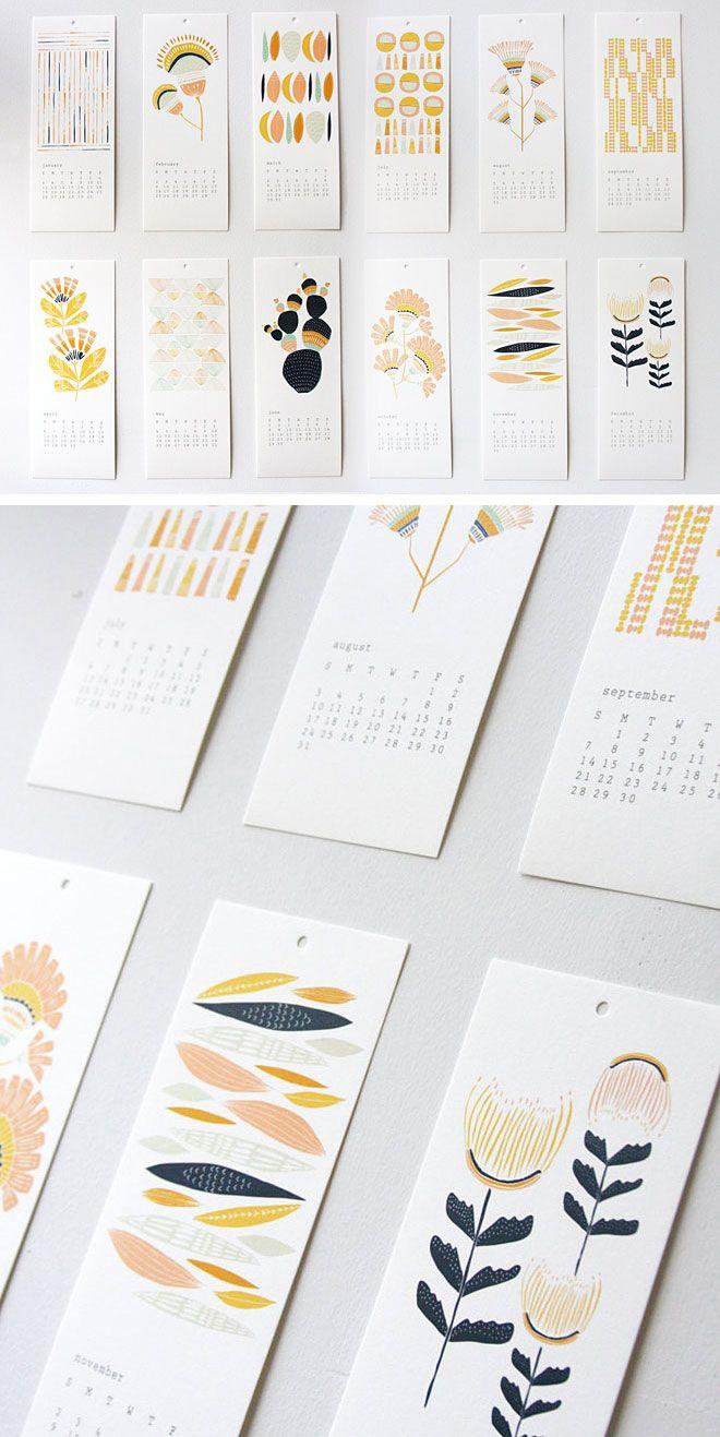 12-Month Desert Shapes  2014 Calendar by Leah Duncan
