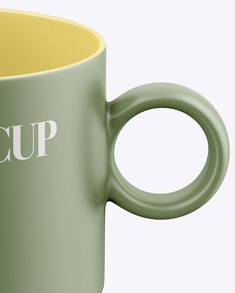 Matte Coffee Cup Mockup - Front View (High Angle Shot)