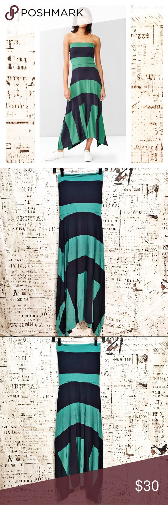 GAP 4 in 1 Tube Dress Green Navy Stripe Block This tube dress by GAP is so comfortable and versatile! Style is 4 in 1 dress - so many different ways to wear! 100% viscose. So cute! Striped upper with color block skirt, navy and green. GAP Dresses Maxi