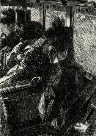 Andres Zorn - Ommibus - Gravure sur bois