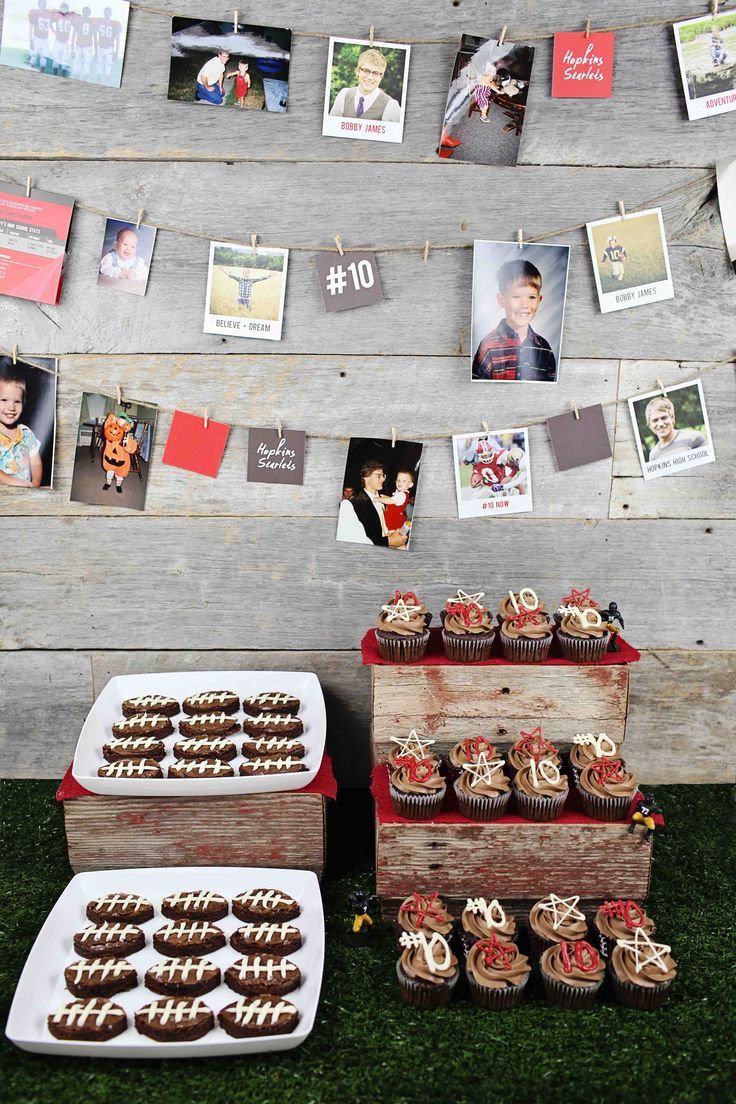 All Star Graduation Party Ideas - delicious dessert ideas with football shaped brownies and all star cupcakes