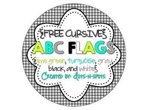 "FREE print & cursive versions!!!  ABC Flags (lime green, turquoise, gray, black....In this FREE 16-page download, you will receive lime green, turquoise, gray, black, and white ABC Flags to use however you'd like. For my classroom, I've glued the flags to ribbon and hung them across my whiteboard. They can also work for word walls....Follow for Free ""too-neat-not-to-keep"" teaching tools & other fun stuff :)"