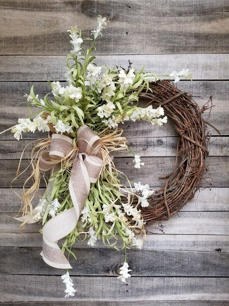 Grapevine Wreath Summer Wreath for Front Door Wildflower Wreath Year Round Wreath Fall Wreath Burlap Bow Wreath