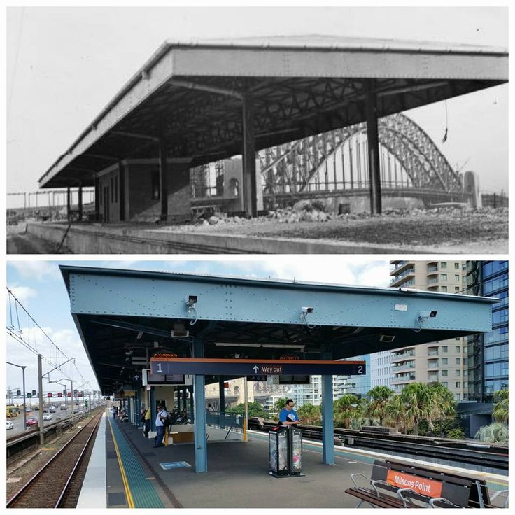 View of Milsons Point railway station and the Sydney Harbour Bridge under construction, c1931 and the similar view in 2016 [1931 > NLA - 2016 > Allan Hawley. By Allan Hawley]