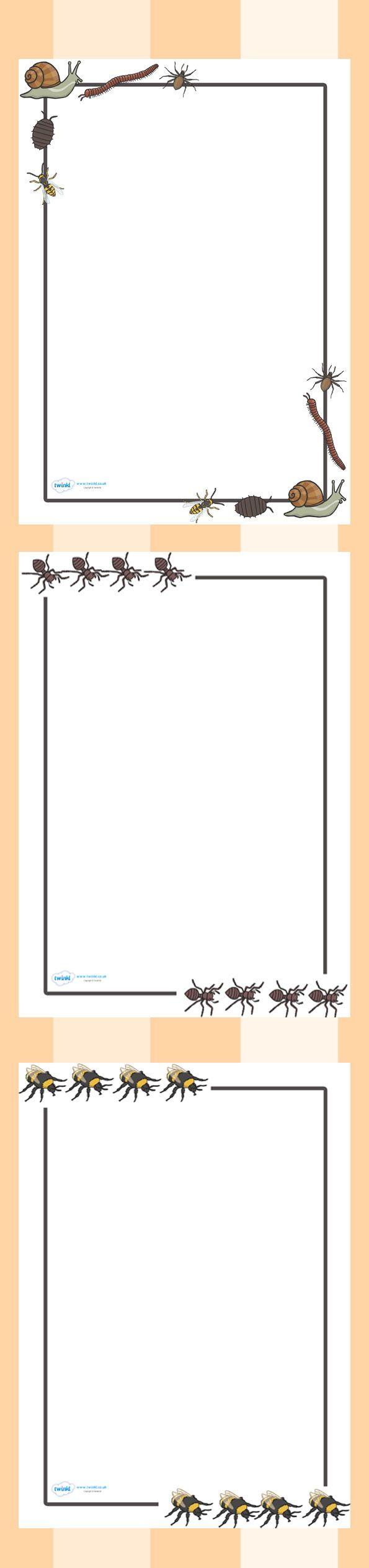 Twinkl Resources >> Minibeast Page Borders  >> Classroom printables for Pre-School, Kindergarten, Elementary School and beyond! Minibeasts, Printable Writing Paper, Borders