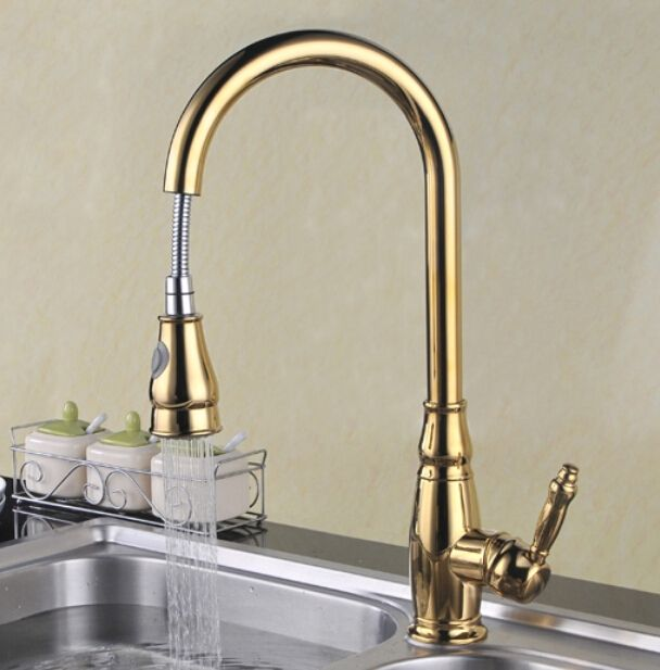 102.15$  Buy now - http://ali53w.worldwells.pw/go.php?t=32707207545 - Free shipping Water Saver Filter Swivel Robinet Para Torneira Gold Kitchen Faucet With Pull Out Spray Sink Mixer Taps KF092