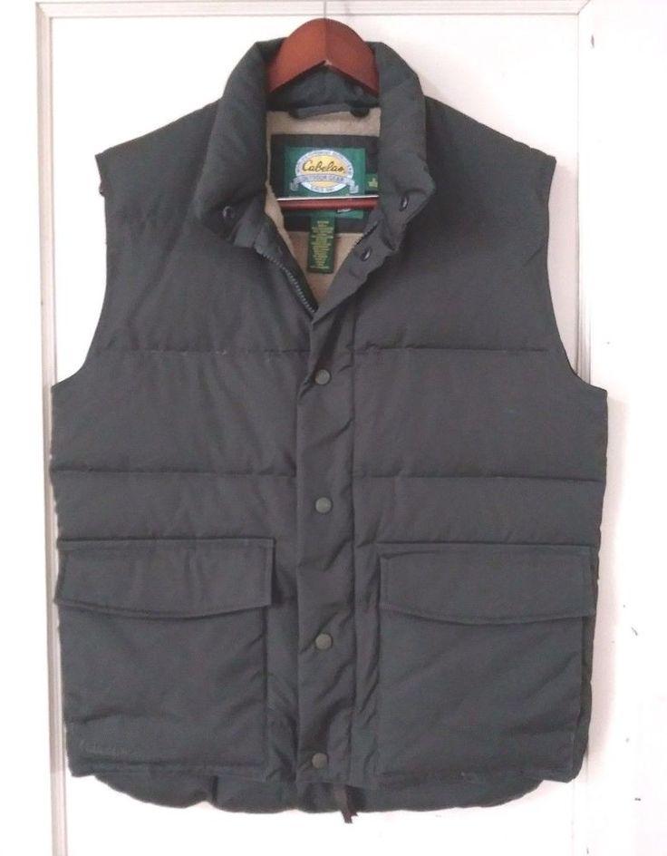 CABELAS Premier Goose Down 75% 550 Fill Outdoor Vest SZ S Olive Green #Cabelas #Vest