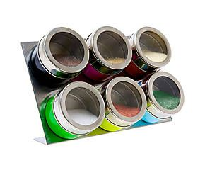 6 Pots à épices magnétiques acier et verre , multicolore - 21*14
