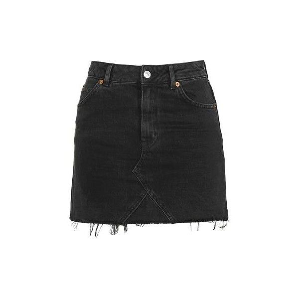 TopShop Moto Highwaist Short Skirt found on Polyvore featuring skirts, mini skirts, bottoms, washed black, pocket skirt, topshop, high-waisted skirts, acid wash skirt and short skirts