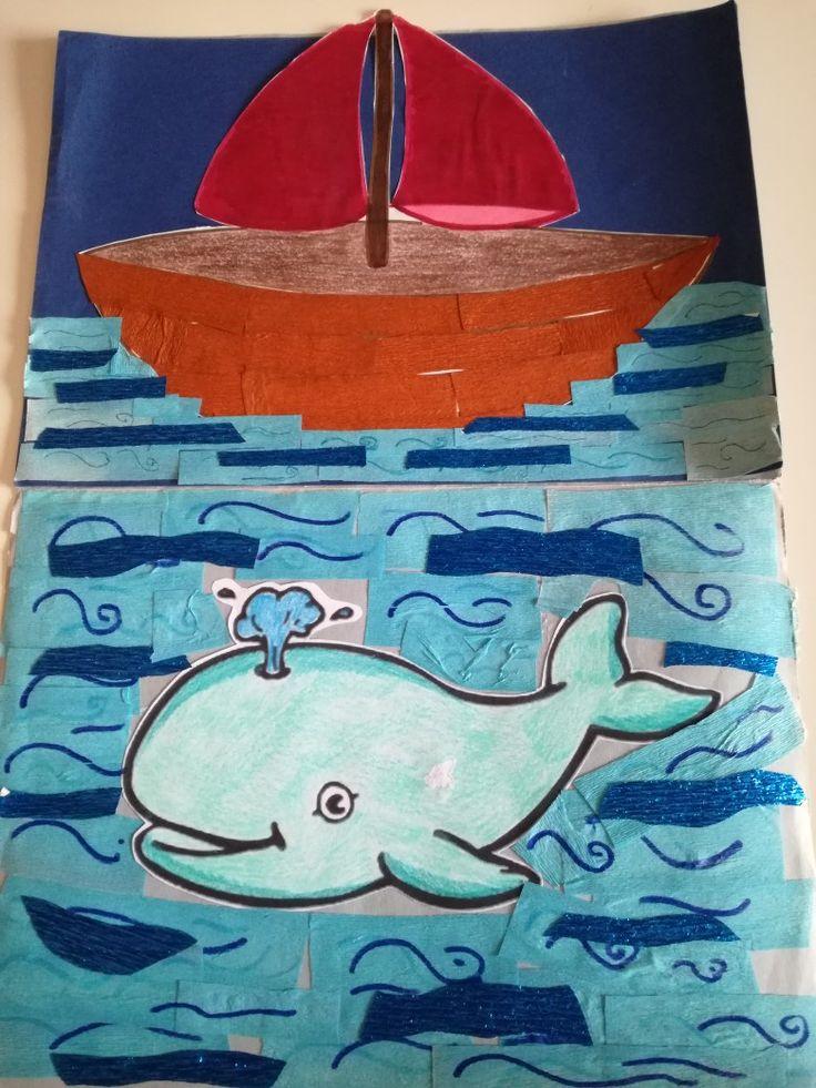 Giona e la Balena Materiali:carta crespa e fogli da colorare Per stimolare il tatto dei bambini