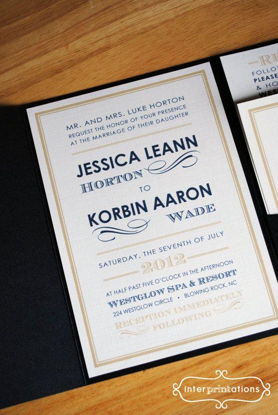 Modern Pocketfold Wedding Invitation Set by Interprintations, $5.00